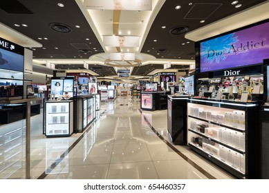 TOKYO, JAPAN - CIRCA MARCH, 2017: Perfumery and Cosmetics Duty Free inside Narita airport.