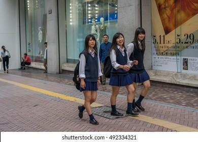 Tokyo, Japan - Circa May 2016 - japanese school girls in tokyo