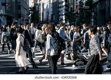 Tokyo, Japan - Circa May 2016 - Crowds at the shibuya crossing
