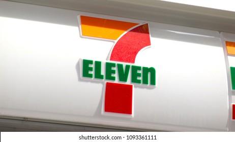 TOKYO,  JAPAN - CIRCA MAY 2018 : Convenience store SEVEN ELEVEN.