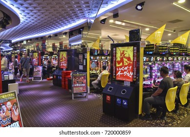 TOKYO, JAPAN - CIRCA September 2016: Pachinko Parlor in Asakusa. It is a type of mechanical game in Japan and is used as both a form of arcade game and more frequently as a gambling device.