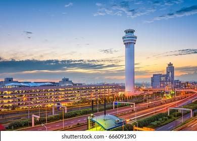 Tokyo, Japan at the control tower of Haneda Airport.
