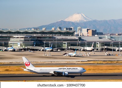 TOKYO, Japan - Dec 14, 2017: Haneda Airportand Mount Fuji ina clear day. Haneda or Tokyo International Airport is one of the two primary airports that serve the Greater Tokyo Area.