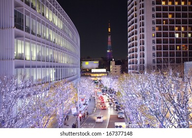 TOKYO, JAPAN - DEC 15: Tokyo  Illuminations of the Christmas light at Roppogi Hill on Dec 15,2013 Tokyo Japan