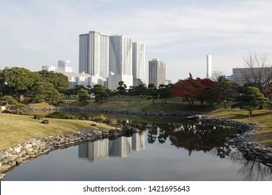 Tokyo / Japan - December 04th 2016: General view of Hamarikyu Gardens (japanese: Hama-rikyu onshi teien) in Chuo district, Toyko, Japan
