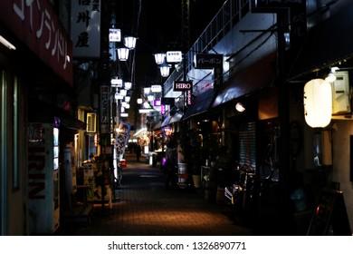 Tokyo, Japan - December 05, 2016: Unidentified japanese people walking through the Kamata alley food street in Toyko, Japan