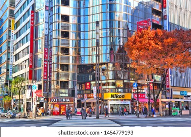 TOKYO, JAPAN - DECEMBER 1, 2016: People shop in Ginza area of Tokyo, Japan. Tokyo is the capital city of Japan. 37.8 million people live in its metro area.