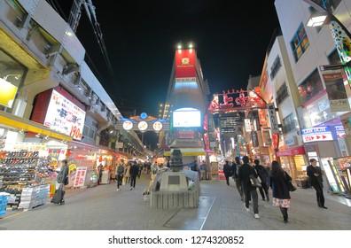 TOKYO JAPAN - DECEMBER 10, 2018: Unidentified people visit Ameyoko shopping arcade in Tokyo Japan.