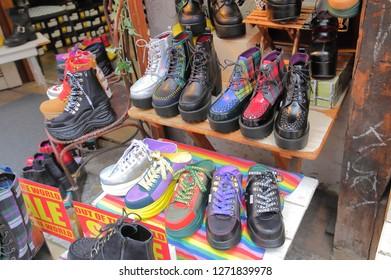 TOKYO JAPAN - DECEMBER 11, 2018: Harajuku Takeshita shopping street shoe shop in Tokyo Japan