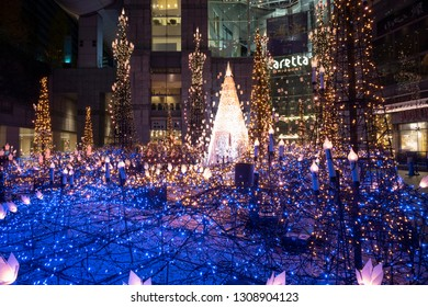 Tokyo, Japan - December 13 2018: The Christmas Illumination in Caretta Shiodome during holiday season.