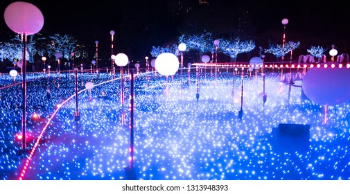 Tokyo, Japan - December 13 2018: The Christmas Illumination in Roppongi during holiday season.