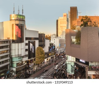 TOKYO, JAPAN - December 15 2018 : Bird's view of the Japanese youth culture fashion's district crossing intersection of Harajuku Laforet named champs-élysées in Tokyo, Japan.