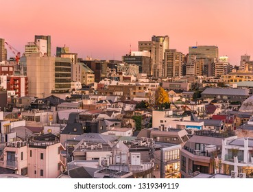 TOKYO, JAPAN - December 15 2018 : Bird's view of the Japanese youth culture fashion's district of Harajuku backstreets  with Roppongi Hills and TOD'S Omotesando buildings in background at sunset.