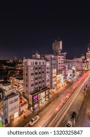 TOKYO, JAPAN - December 15 2018: Bird's view of the Japanese youth culture fashion's district crossing intersection of Harajuku Laforet named champs-élysées in Tokyo, Japan at night.