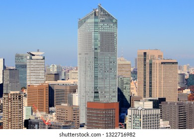 TOKYO, JAPAN - DECEMBER 2, 2016: Toranomon Hills Mori Tower skyscraper in Minato Ward, Tokyo. The building was designed by Nihon Sekkei and constructed by Obayashi Corporation.