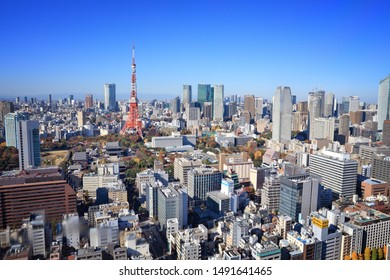 TOKYO, JAPAN - DECEMBER 2, 2016: Cityscape view of Tokyo. Tokyo is the capital city of Japan. 37.8 million people live in its metro area.