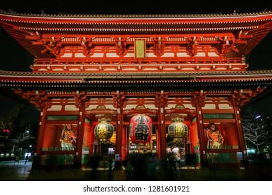 TOKYO, JAPAN - DECEMBER, 2018: Kaminarimon gate at Senso-ji temple in Asakusa, Tokyo, Japan.