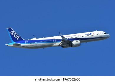Tokyo, Japan - December 26, 2020:All Nippon Airways (ANA) Airbus A321-200N (JA135A) passenger plane.