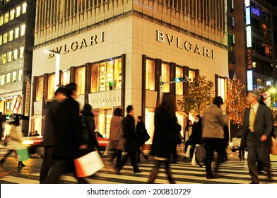 TOKYO, JAPAN - DECEMBER 28, 2011: Bvlgari store in Ginza, one of the most luxurious shopping district in the world
