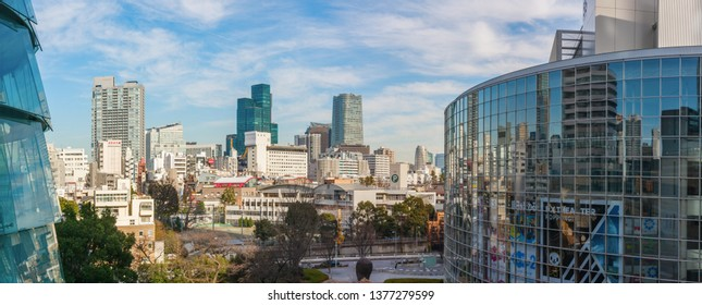 TOKYO, JAPAN - DECEMBER 30, 2013: Panoramic view of the Roppongi district with tall office buildings and the TV Asahi headquarters.