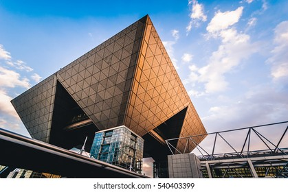 Tokyo, Japan - December 30, 2014:  Conference tower of the Tokyo Big Sight, officially known as Tokyo International Exhibition Center.