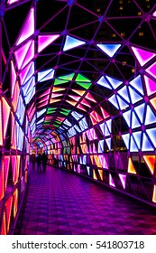 TOKYO, JAPAN - DECEMBER 30, 2015: People visit in Winter illumination events, This beautiful colorful of light up displays at Tokyo Dome City.