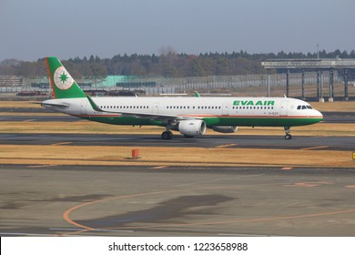 TOKYO, JAPAN - DECEMBER 5, 2016: Eva Air Airbus A321 taxies at Narita Airport of Tokyo. The airport is the 2nd busiest airport of Japan with 34,751,221 annual passengers (2015).