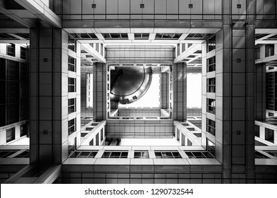 TOKYO, JAPAN - December 5, 2018: Bottom view on Headquarters of Fuji TV at Odaiba island. Fuji TV Studios building was designed by famous Kenzo Tange and is one of most recognized buildings in Japan.