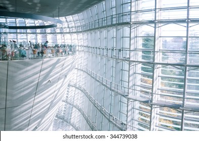 Tokyo, Japan - December 6, 2014: Interior of National Art Center in Tokyo, Japan. The art center is considered one of the largest of its kind Japan.