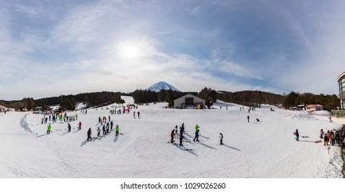 TOKYO, JAPAN - FEB 15,2018 : Fujiten Snow Resort is a small ski resort along the northern base of Mount Fuji in the Fuji Five Lakes region.