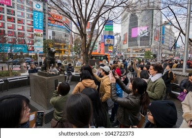 TOKYO, JAPAN - FEB 16, 2018: Statue of Hachiko near the Shibuya crossing