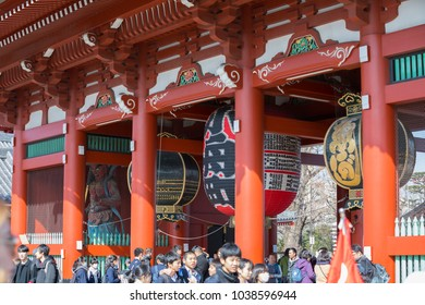 TOKYO, JAPAN - FEB 16, 2018:Sensoji Temple in Tokyo. Oldest temple in Tokyo and on of the most significant Buddhist temples located in Asakusa.