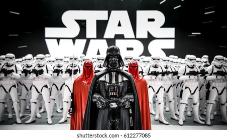 ToKyo, Japan - Feb 19 2017, Darth Vader from Star wars with Stormtroopers army figures in background