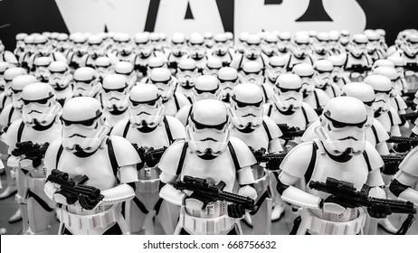 ToKyo, Japan - Feb 19 2017, Stormtroopers army figures display