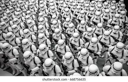 ToKyo, Japan - Feb 19 2017, Stormtroopers army figures display