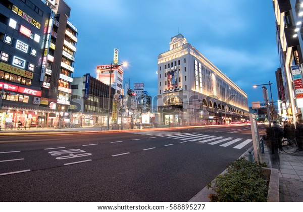 Tokyo, Japan - Feb 20, 2017: Asakusa city in the evening. Asakusa is a district in Taito, Tokyo, Japan, famous for the Senso-ji Buddhist Temple