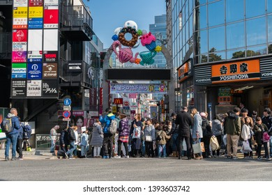 TOKYO, JAPAN - FEB 2019 : Many Undefined Japanese and foreign tourist visiting at Takeshita street in Harajuku station on Febuary 16, 2019, Tokyo,Japan.famous of teenage Japanese wearing cosplay