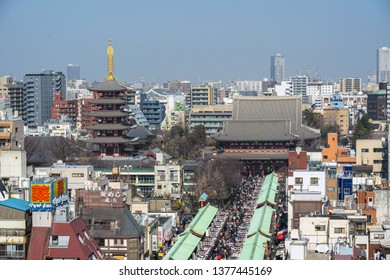 TOKYO, JAPAN - FEB 2019 : Top view of Nakamise shopping street in Asakusa and Sensoji Temple in Asakusa on Febuary 20, 2019, Sensō-ji is an ancient Buddhist temple located in Asakusa, Tokyo, Japan.