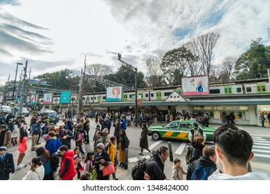 TOKYO, JAPAN - FEB 2019 : Undefined people and tourist crowd visiting and enjoying the trendiest fashion at Takeshita street at Harajuku station on Febuary 16, 2019, Japanese culture and shopping area