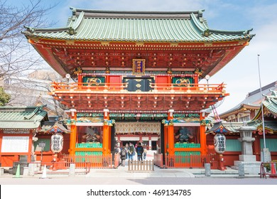 TOKYO, JAPAN - Feb 27 2016: Visitors at Kanda Myojin Shrine. Kanda Myojin Shrine has held a special presence in Edo-Tokyo for nearly 1,300 years since its founding in 730 AD.