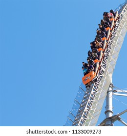 Tokyo, Japan - February 11, 2016 : Tokyo Dome City signature ride, Thunder Dolphin, a roller coaster at maximum drop of 80 degrees on February 11, 2016 at Tokyo, Japan.
