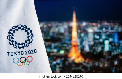 TOKYO, JAPAN, FEBRUARY. 14. 2020: Tokyo tower in night, Summer olympic game background, Tokyo 2020