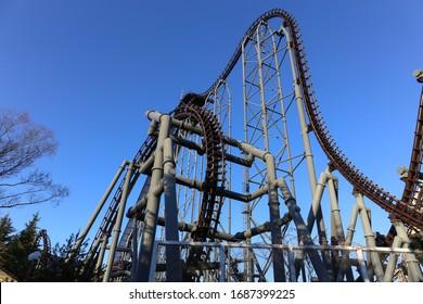 TOKYO, JAPAN - FEBRUARY 15: Roller Coaster in Fuji-Q Highland amusement park in shinny day February 15, 2017 in Yamanashi, Japan