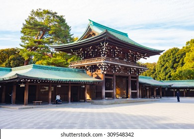 Tokyo, Japan - February 16, 2015: Meiji Shrine located in Shibuya, Tokyo, is the Shinto shrine that is dedicated to the deified spirits of Emperor Meiji and his wife, Empress Shoken.