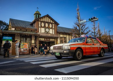 Tokyo, Japan - February 18, 2017 : Busy Harajuku train station. Harajuku is known as a center of Japanese youth culture and fashion and shopping.