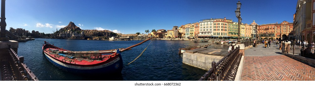 TOKYO, JAPAN - FEBRUARY 21: Panorama view of Tokyo disney sea with blue sky February 21, 2017 in Tokyo, Japan