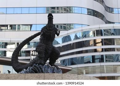 TOKYO, JAPAN - February 23, 2019: A statue of Godzilla in Tokyo Midtown Hibiya's Godzilla Square.