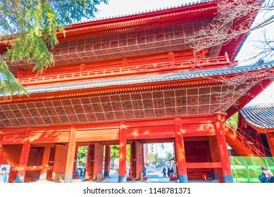 TOKYO, JAPAN - FEBRUARY 24, 2018: Sangedatsumon gate of the Zojo-ji Temple in Tokyo, Japan.