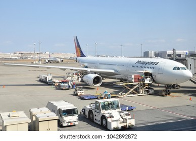 Tokyo, Japan - February 26, 2018: Philippine Airlines seen parked at the tarmac at Haneda International Airport.