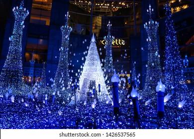 TOKYO, JAPAN - FEBRUARY 8, 2019 : Winter illumination light up at caretta shiodome shopping mall.
